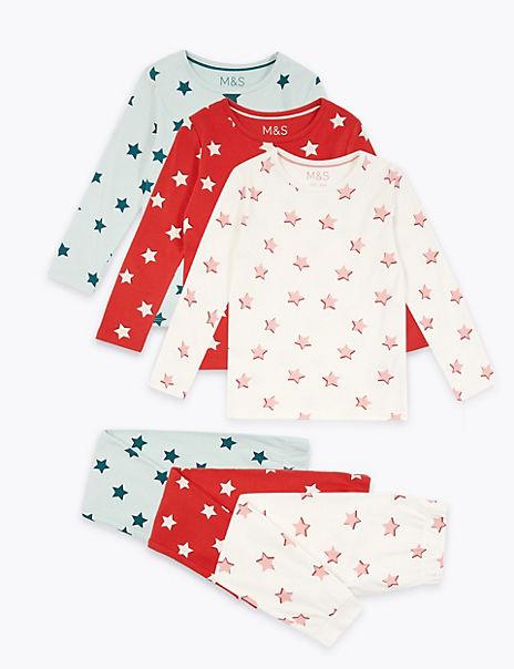 3 Pack Cotton Star Print Pyjama Set