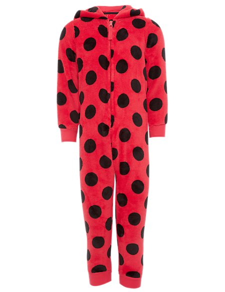 Soft & Cosy Hooded Ladybird Fleece Onesie with StayNEW™ (1-7 Years)