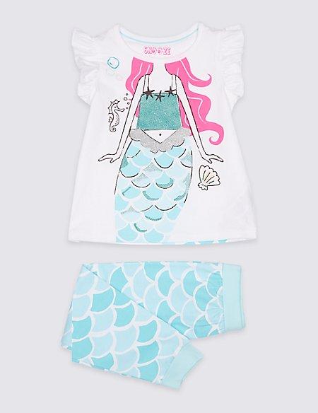 Cotton Mermaid Print Pyjamas (1-7 Years)