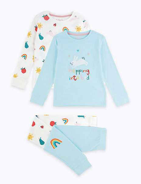 2 Pack Cotton Colourful Pyjama Sets (1-7 Years)