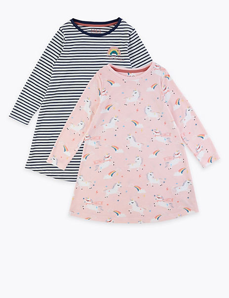 2 Pack Unicorn & Striped Nightdresses (1-7 Years)