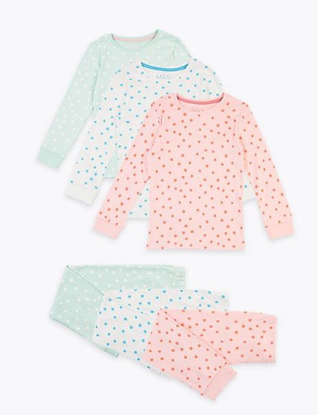 3 Pack Cotton Spotted Pyjama Sets (1-7 Years)