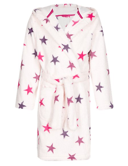 Hooded Star Print Dressing Gown (1-7 Years) | M&S