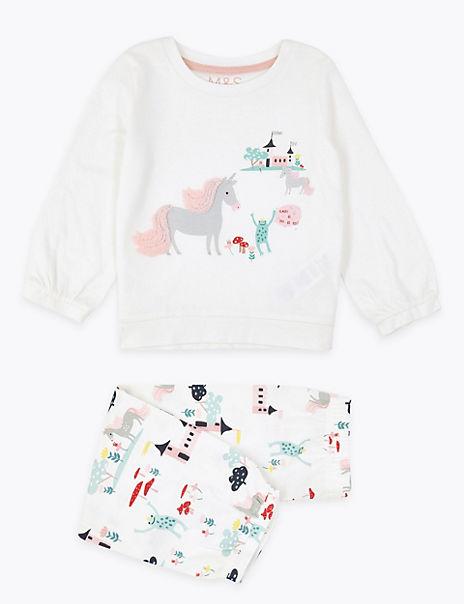 Unicorn Print Pyjama Set (1-7 Years)