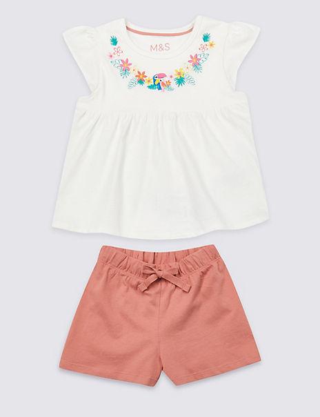 Pure Cotton Floral Short Pyjamas (1-7 Years)