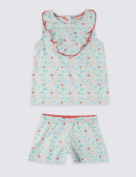 Pure Cotton Floral Short Pyjamas (1-7 Years)