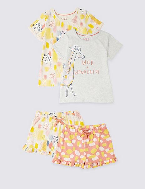2 Pack Pure Cotton Short Pyjamas (1- 7 Years)