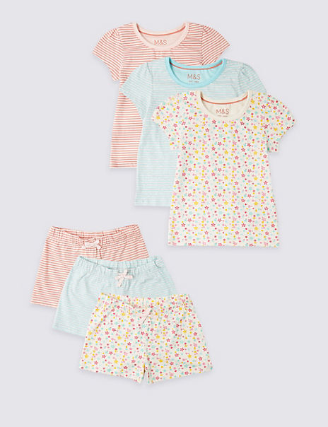 3 Pack Pure Cotton Short Pyjamas (1-7 Years)
