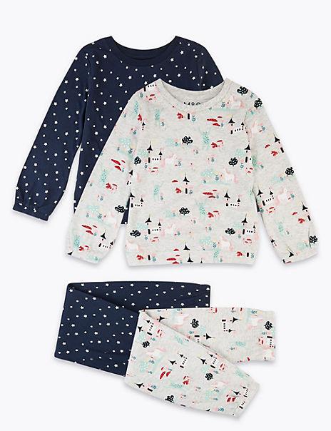 2 Pack Castle & Unicorn Print Pyjama Set (1-7 Years)