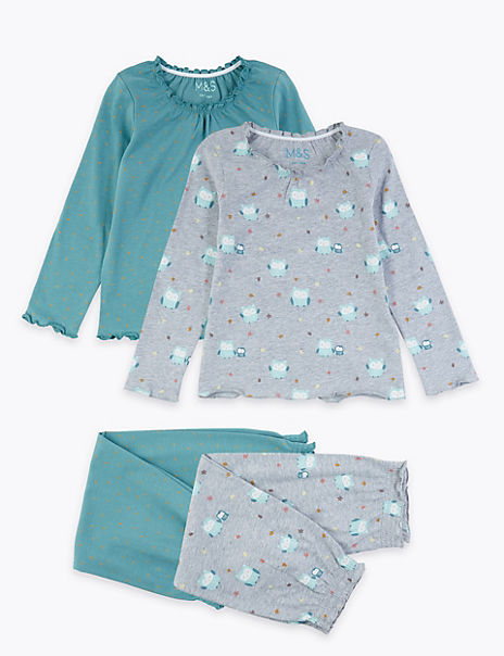 2 Pack Cotton Owl Print Pyjama Set (1-7 Years)