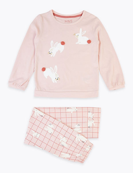 Cotton Bunny Print Pyjama Set (1-7 Years)
