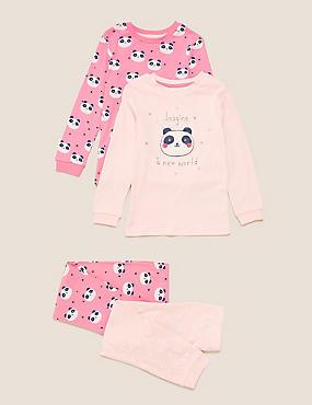 2pk Pure Cotton Panda Pyjama Sets (1-7 Yrs)