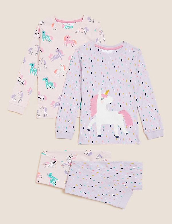 2 pyjama's van zuiver katoen met eenhoornmotief (1-7 jaar)