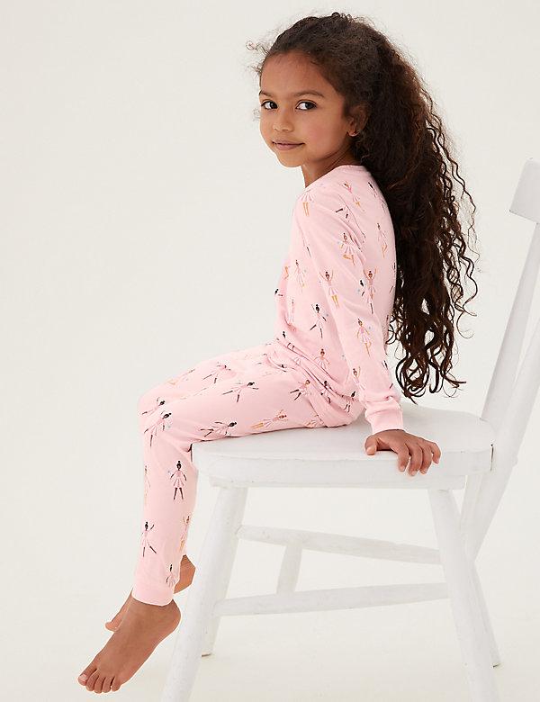 Katoenen pyjama met ballerinamotief (1-7 jaar)