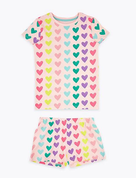 Cotton Rich Heart Print Short Pyjama Set (1-7 Yrs)