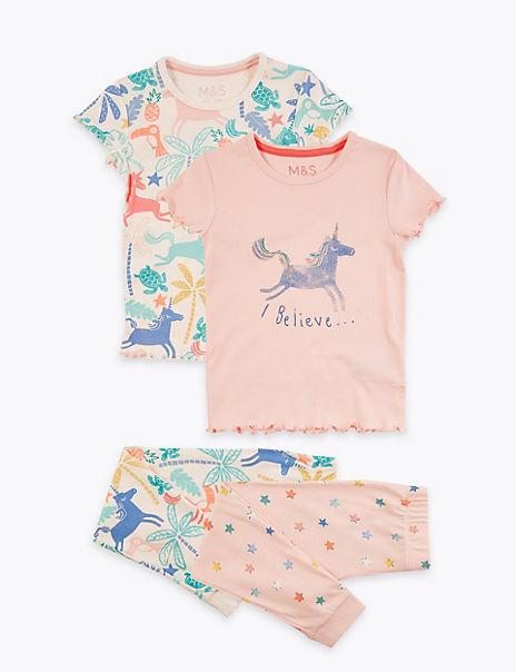 2 Pack Pure Cotton Unicorn Pyjama Sets (1-7 Yrs)