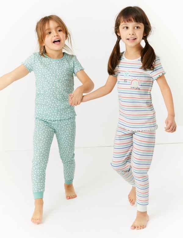 M /& S girls pyjama12 18 24 months 2 3 4 5 6 7 8 years nightwear bunnies stripe