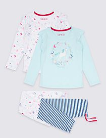 2 Pack Unicorn Bear Pyjamas (9 Months - 8 Years)