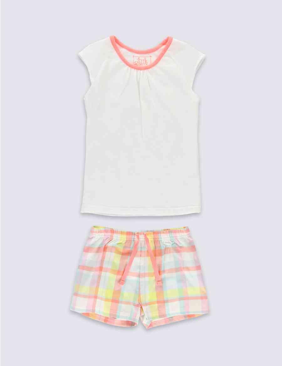 056e5309b21f Pure Cotton Stay Soft Checked Short Pyjamas (1-8 Years)