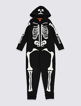 Skeleton Onesie (1-16 Years), BLACK, catlanding
