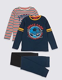 2 Pack Space Pyjamas (3-16 Years)