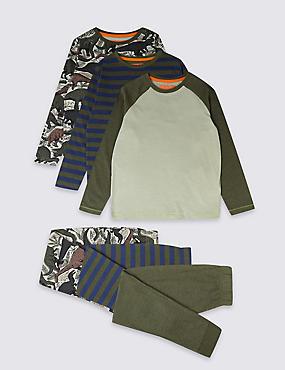 3 Pack Pyjamas (3-16 Years), KHAKI MIX, catlanding