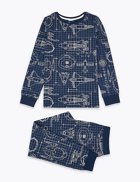 Easy Dressing Space Rocket Print Pyjama Set (1-16 Years)