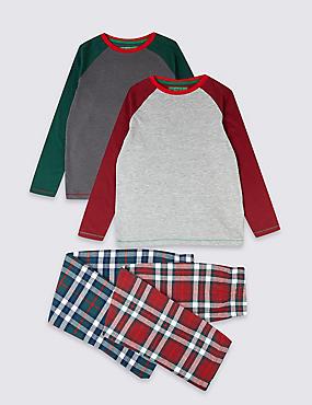 2 Pack Pyjamas (3-16 Years), BERRY RED, catlanding