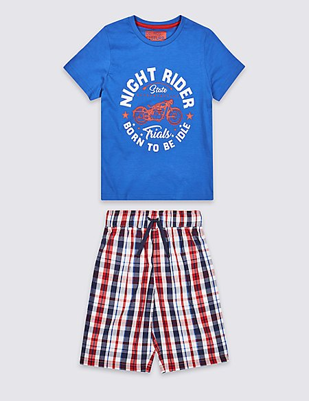 Pure Cotton Short Pyjamas (3-16 Years)