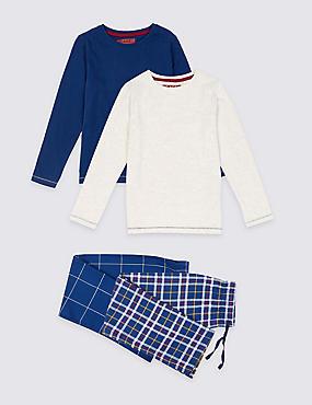 2 Pack Pyjamas (3-16 Years), NAVY, catlanding