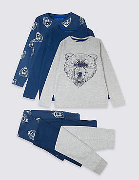 3 Pack Cotton Bear Pyjamas (3-16 Years)
