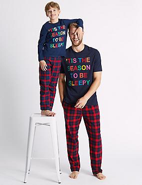 Festive Mini Me Pyjamas (3-16 Years), NAVY, catlanding