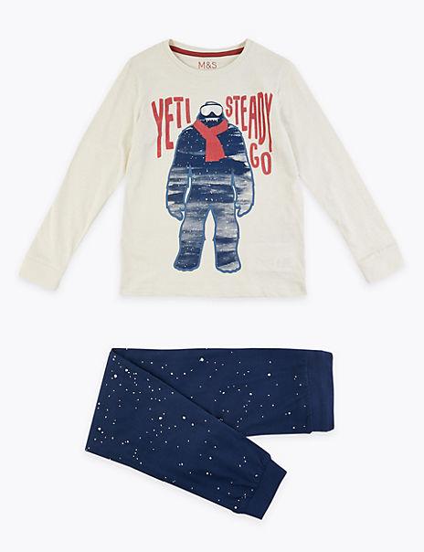 Cotton Yeti Print Pyjama Set (3-16 Years)