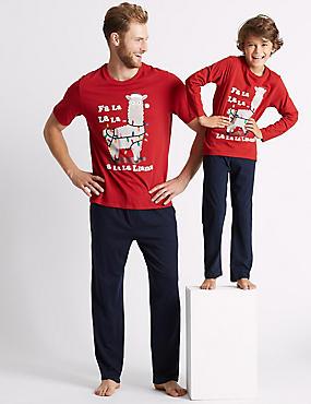 Pure Cotton Llama Print Pyjamas (3-16 Years), GREY, catlanding