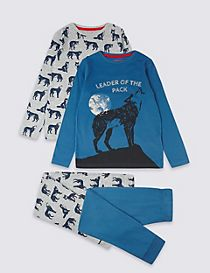 2 Pack Wolf Pyjamas (3-16 Years)