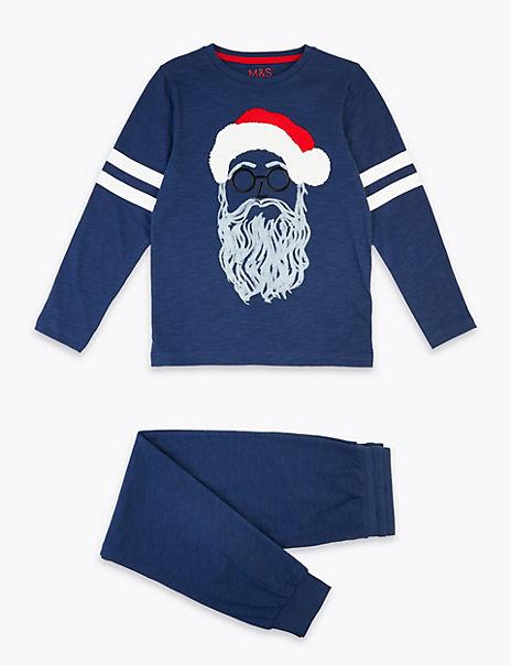 Cotton Santa Print Pyjama Set (3-16 Years)