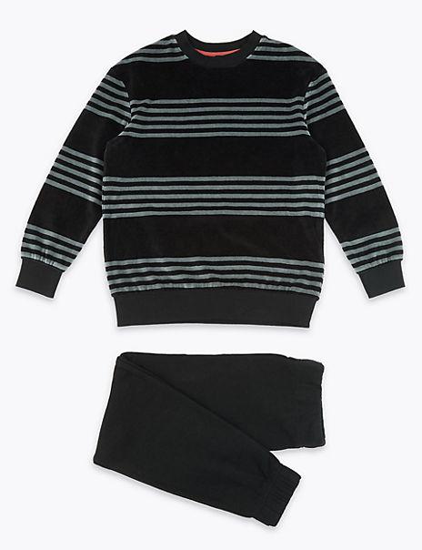 Striped Velour Pyjama Set (3-16 Years)