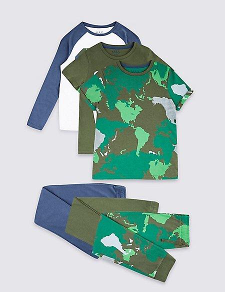 3 Pack Pure Cotton Pyjamas (3-16 Years)