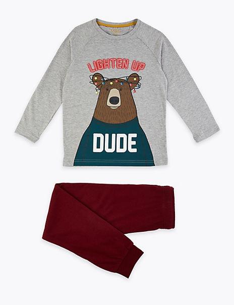 Lighten Up Dude Slogan Pyjama Set (3-16 Years)