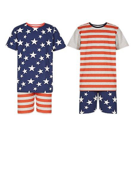 2 Pack Cotton Rich Star & Striped Short Pyjamas (5-14 Years)