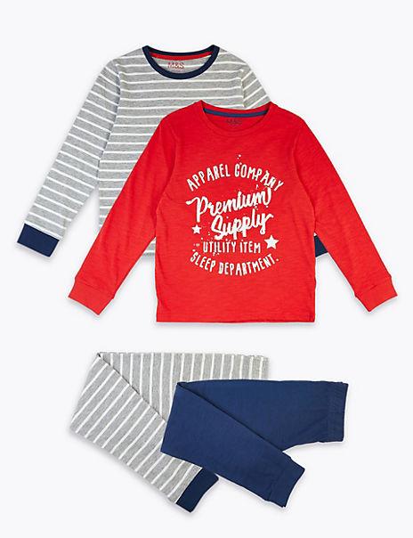 2 Pack Sleep Department Slogan Pyjama Set (3-16 Years)