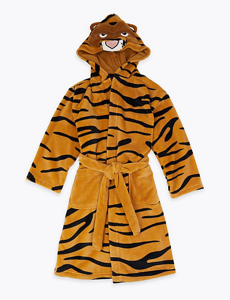 Tiger Print Hooded Dressing Gown (1-16 Years)