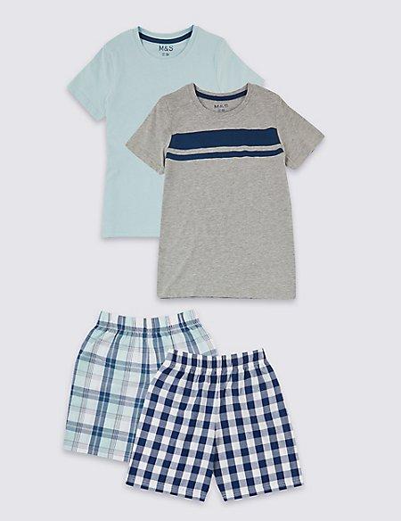 2 Pack Checked Short Pyjamas (3-16 Years)