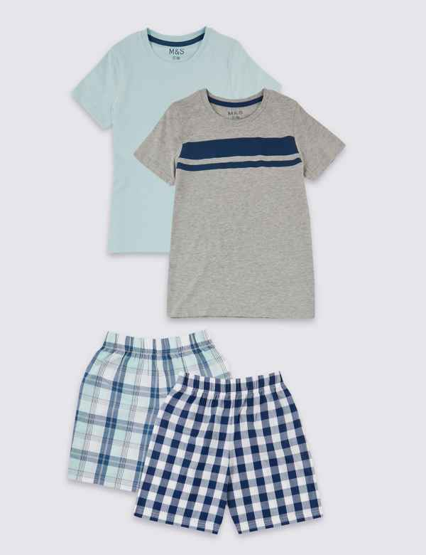96b222f36e 2 Pack Checked Short Pyjamas (3-16 Years)