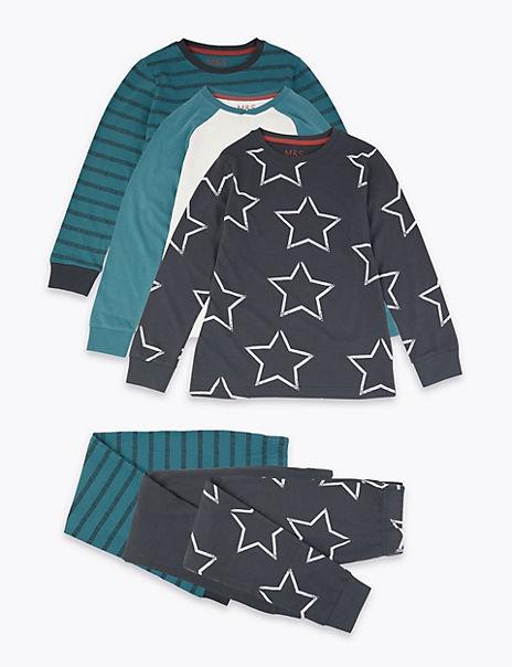 3 Pack Striped & Star Print Pyjama Set (3-16 Years)