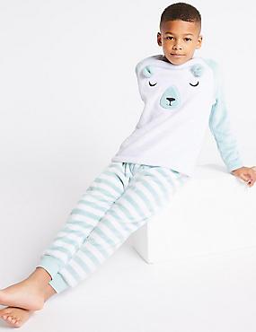 Fleece Pyjamas (1-16 Years), GREY, catlanding