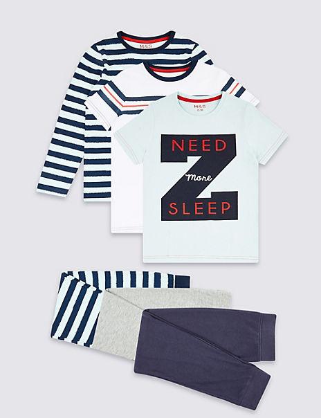 3 Pack Cotton Rich Pyjamas (3-16 years)