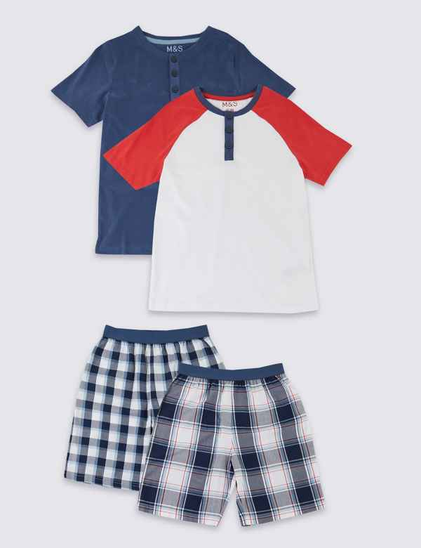 608e9bd394 2 Pack Checked Short Pyjamas (3-16 Years)