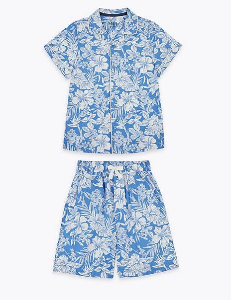Pure Cotton Tropical Woven Short Pyjama Set (6-16 Yrs)