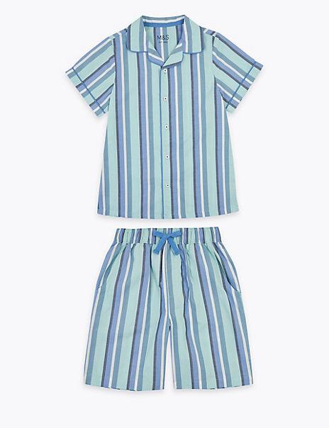 Cotton Striped Short Pyjama Set (6-16 Years)